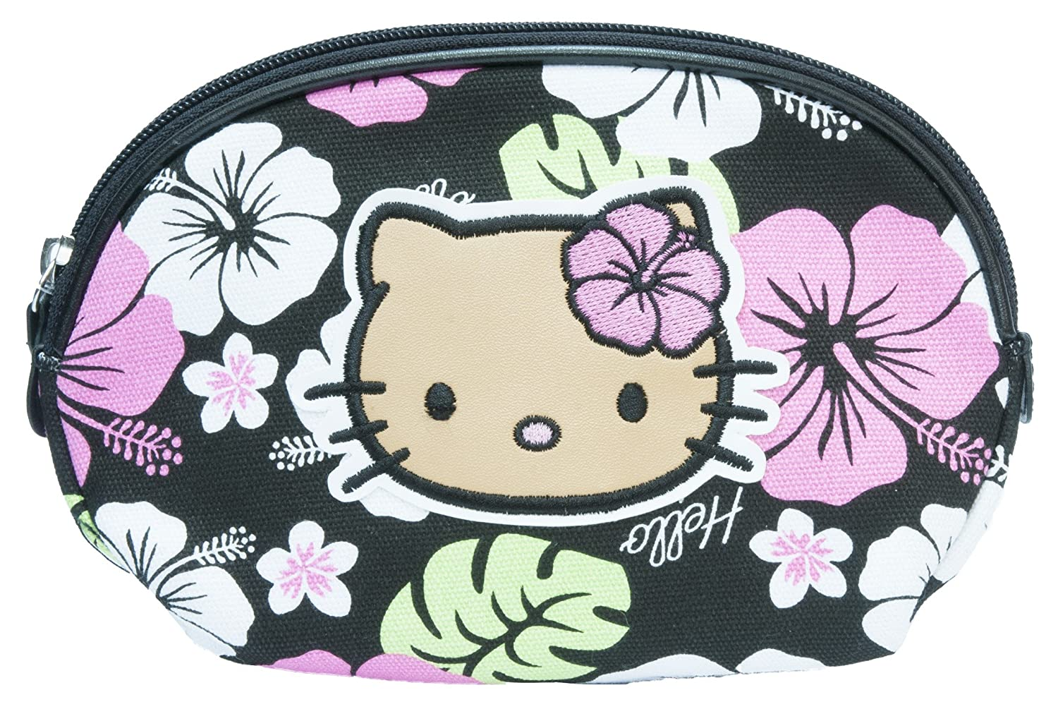 74bbb17a8f8d Official Sanrio Hello Kitty Hawaii beach flower girl make up bag case  travel purse toiletry bag  Amazon.co.uk  Clothing
