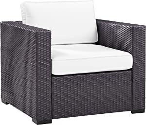Crosley Furniture KO70130BR-WH Biscayne Outdoor Wicker Arm Chair, Brown with White Cushions