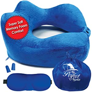 My Perfect Nights MPN's Luxury Neck Pillow for Airplane Travel (Kit), Therapeutic High-Neck Soft & Comfortable, 100% Pure Memory Foam with Washable Velour Cover, Free Ear Plugs & Eye Mask