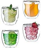 Glassquisite - doppelwandige Gläser – Thermogläser - 4er Set mit Schwebe-Effekt - 4 x 250 ml - verschiedene Formen - ideal für Heiß- oder Kaltgetränke wie Tee, Cappuccino, Kaffee, Cocktails
