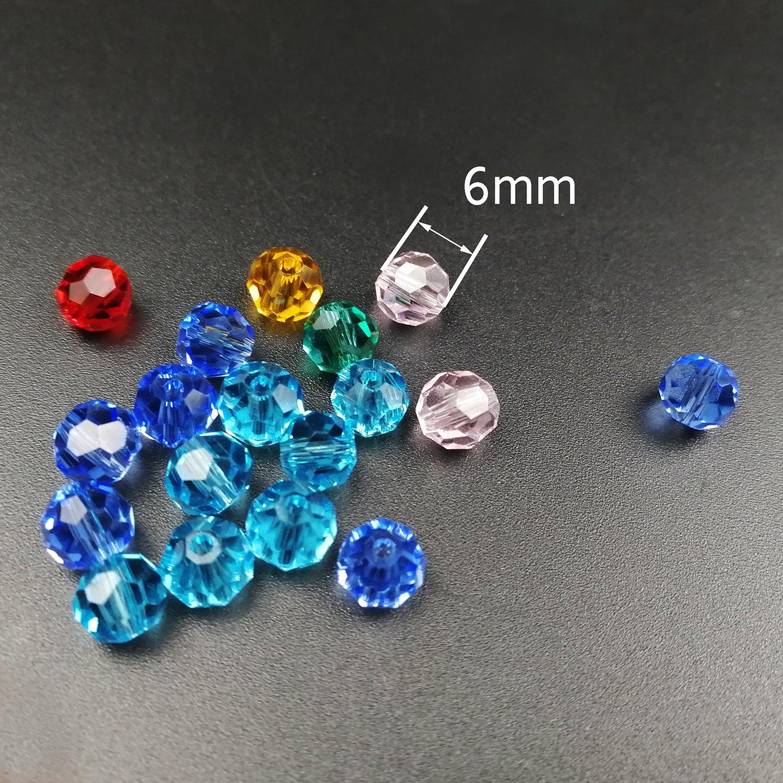 Cuentas de vidrio facetadas de Boocy 500 unidades 6 mm caja con 10 colores variados