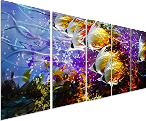 Colorful Tropical School of Fish Metal Wall Art Painting, Large Metal Wall Decor in Tropical Ocean Design, 3D Wall Art for Modern and Contemporary Décor, 5-Panels 24