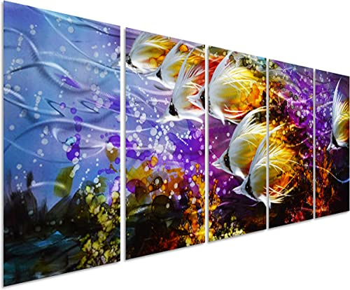Colorful Tropical School of Fish Metal Wall Art Painting