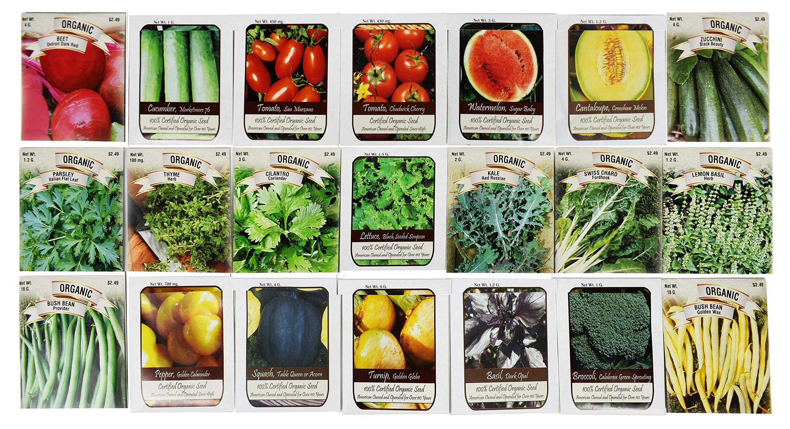 100 Assorted Heirloom Vegetable Seeds 100% Non-GMO (100, Deluxe Assorted Vegetable Seeds) by Valley Greene