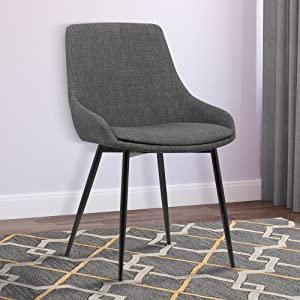 Armen LivingMia Dining Chair in Charcoal Fabric and Black Powder Coat Finish