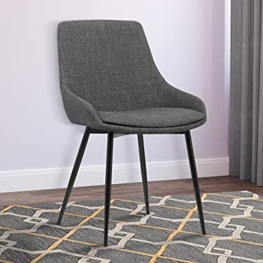 Armen Living  Mia Dining Chair in Charcoal Fabric and Black Powder Coat Finish