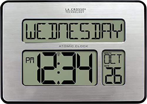 La Crosse Technology 513-1419-INT Atomic Full Calendar Clock with Extra Large Digits – Perfect Gift for the Elderly