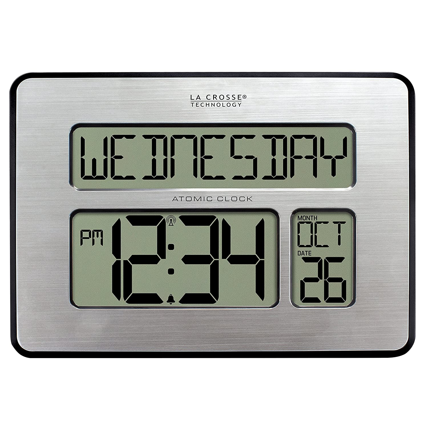 La Crosse Technology 513-1419BLv3-INT Backlight Atomic Full Calendar Clock with Extra Large Digits for the Elderly Ltd.