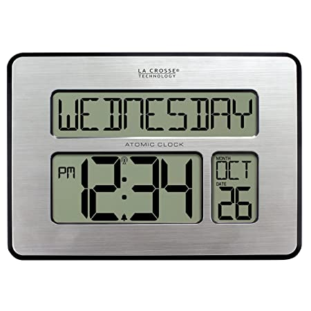 La Crosse Technology 513-1419BLv4-INT Backlight Atomic Full Calendar Clock with Extra Large Digits – Perfect Gift for the Elderly