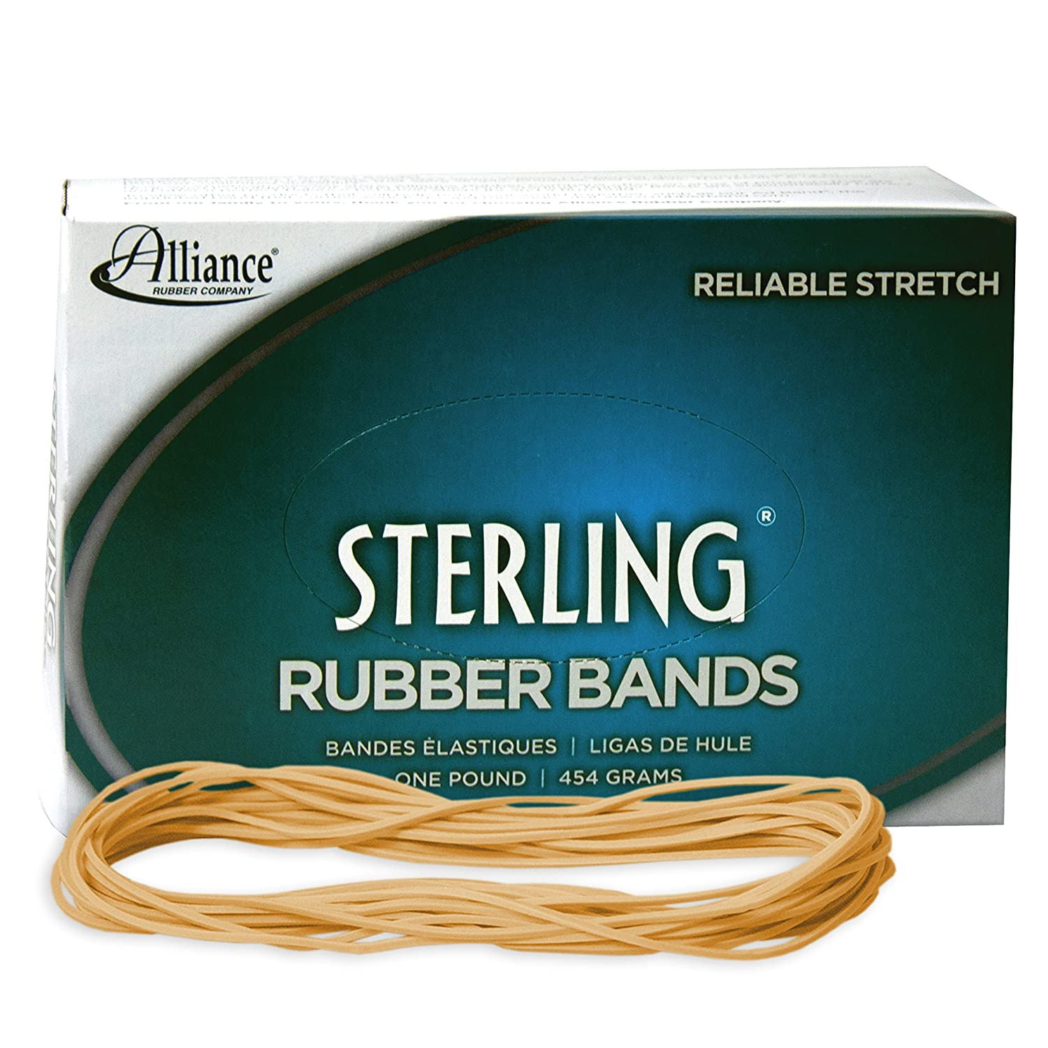 Alliance Rubber 25075 Sterling Rubber Bands Size #107, 1 lb Box Contains Approx. 50 Bands (7' x 5/8', Natural Crepe) 1 lb Box Contains Approx. 50 Bands (7 x 5/8 #N/A!
