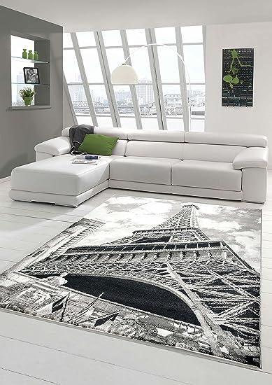 Tappeto Designer Tappeto moderno salotto tappeto motivo Torre Eiffel Grigio  Nero Crema Größe 120x170 cm  Amazon.it  Casa e cucina 4428bdb1d8b4