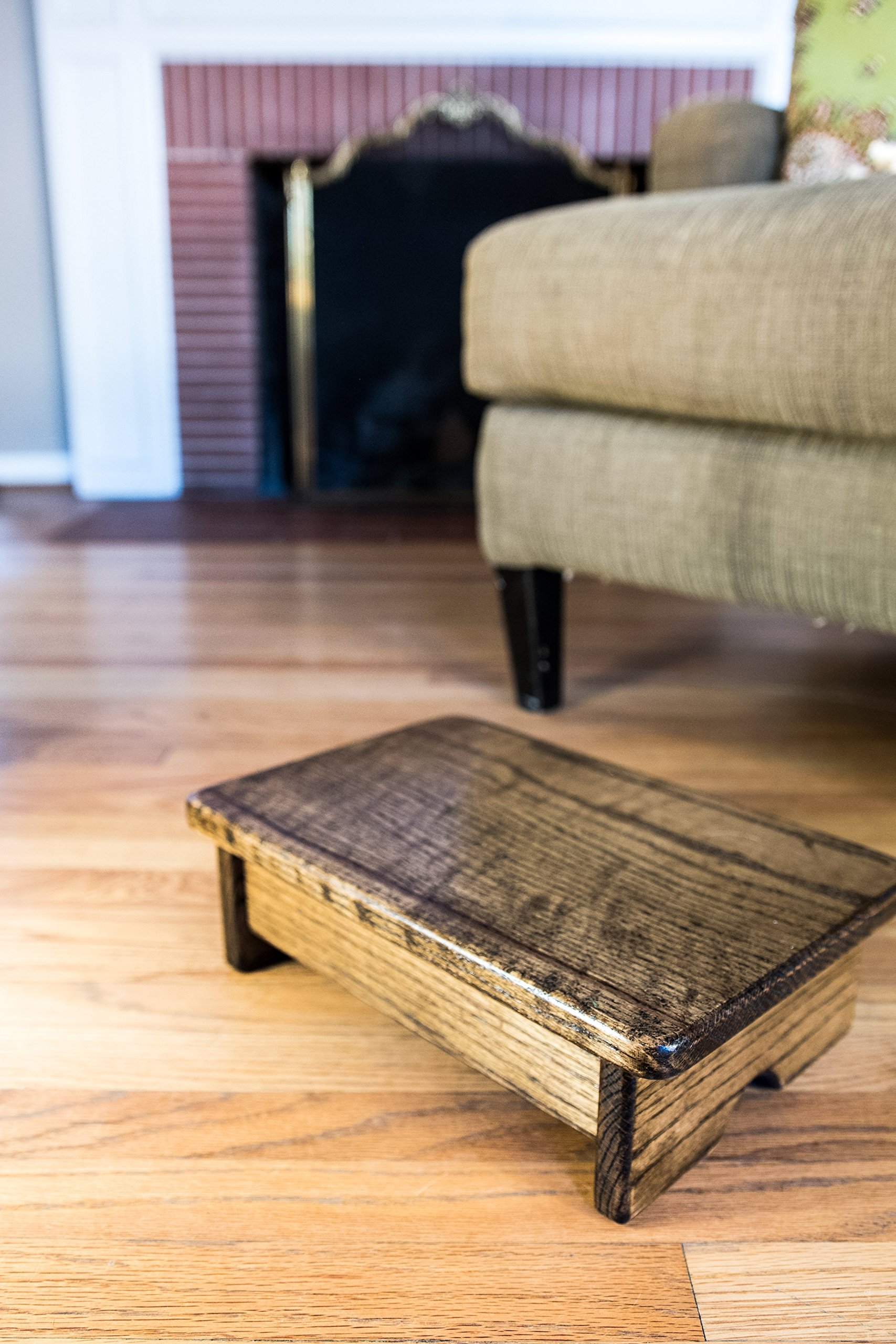 Foot Stool, 4'' Tall, Oak, Walnut Stain (Made in the USA)