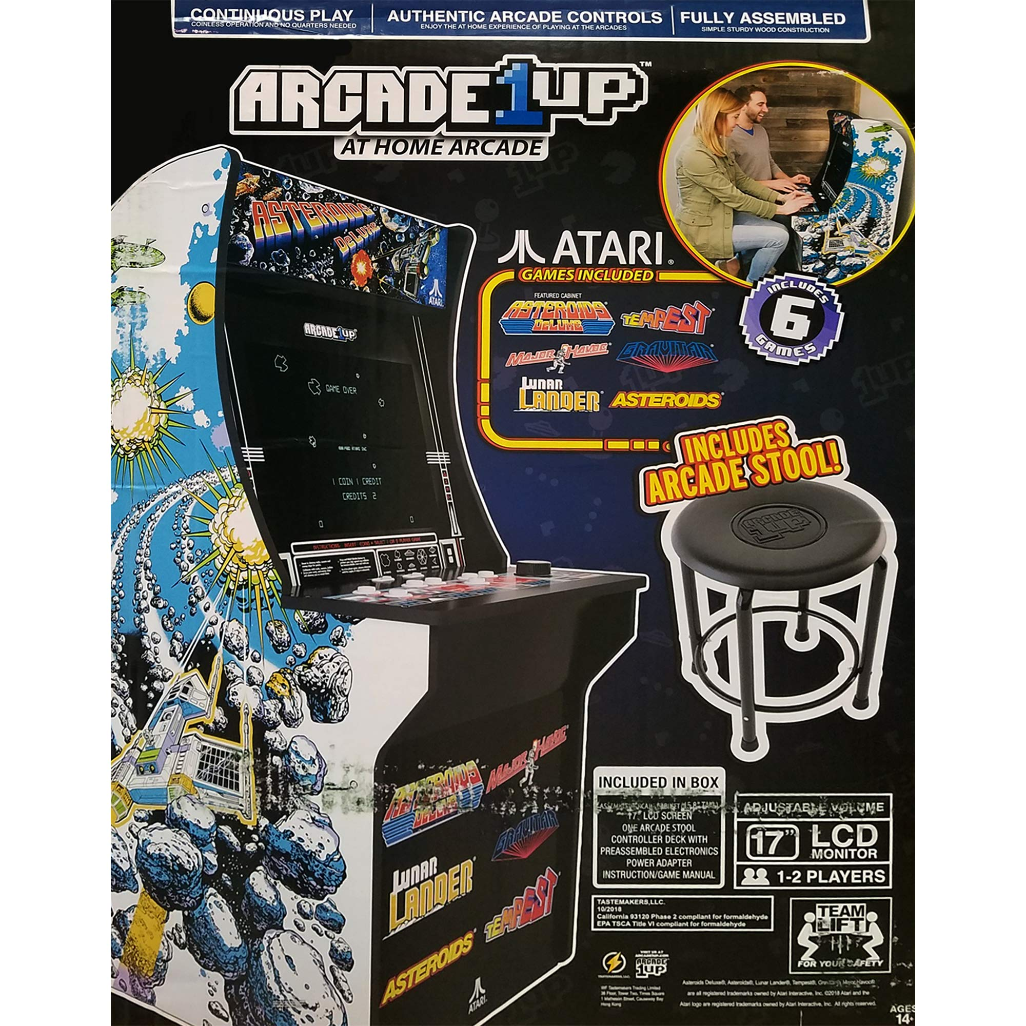 Creative Arcades 6 in 1 Atari Cabinet Arcade 1Up Machine for Home | 6 Classic Games Pre-Installed | Plug and Play - Fully Assembled | 1 - 2 Player | Stool Included | 17'' Screen | Coinless Operation by Creative Outdoor Distributor (Image #4)