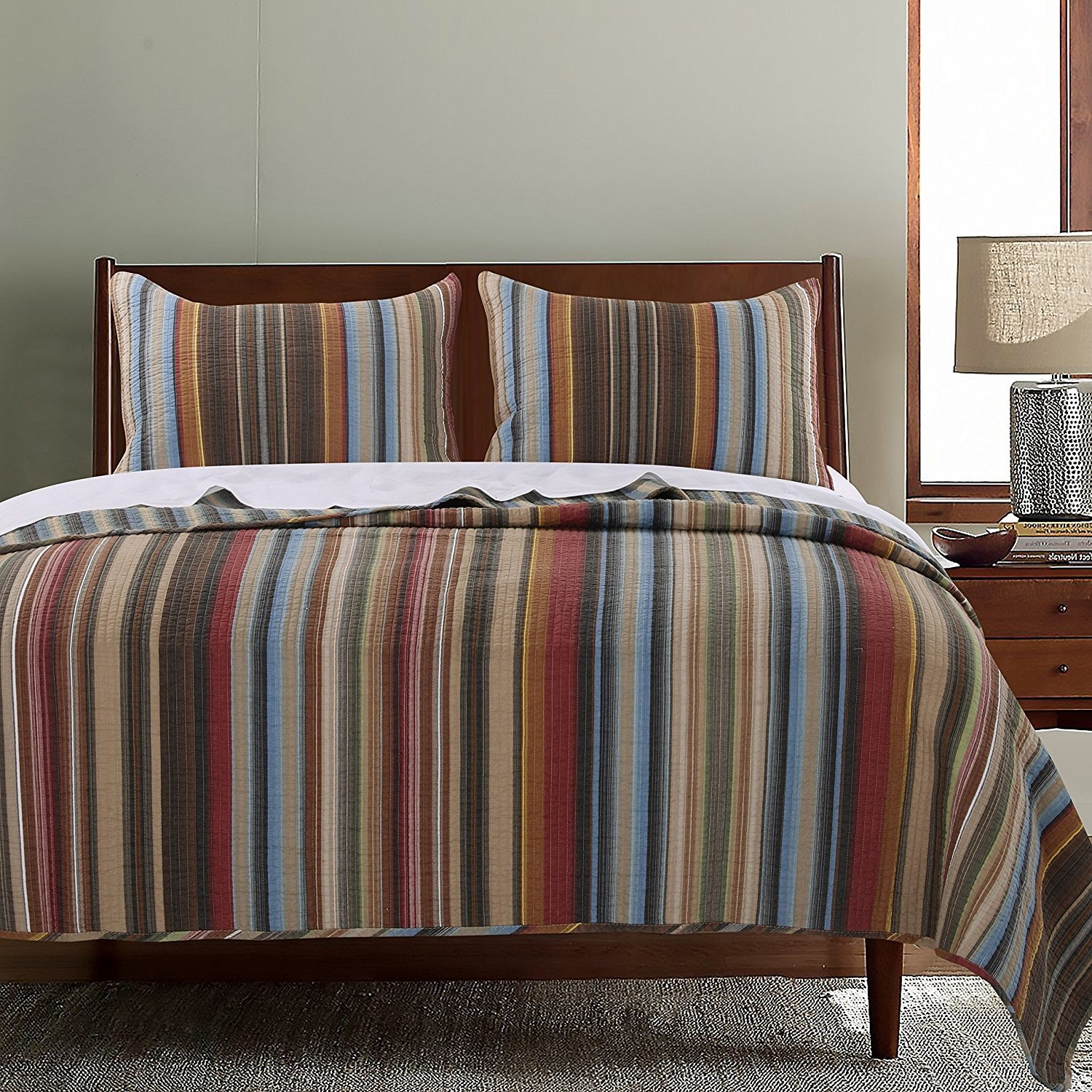 2pc Western Color Stripe Quilt Twin Set, Southwest Spirit Striped Bedding, Blue Beige Brown Burgundy Dark Red Burnt Orange, Traditional Country Southwestern Vertical Stripes Themed Pattern