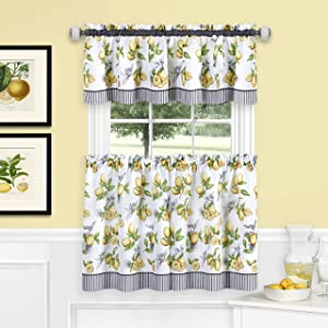 "Achim Home Furnishings Lemon Drop Tier and Valance Window Curtain Set, 58"" x 36"", Yellow"