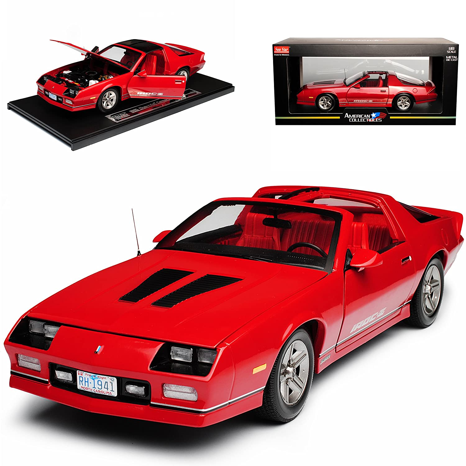 Sun Star Chevrolet Chevy Chevy Camaro IROC-Z Coupe Rot 3. Generation 1982-1993 1/18 Modell Auto