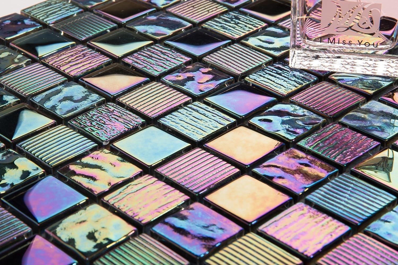 Patr/ón de 10/x 10/cm. Iris ierende N/ácar Texturizado Cristal azulejos mosaico en brillante oscuro Morado mt0159/Sample