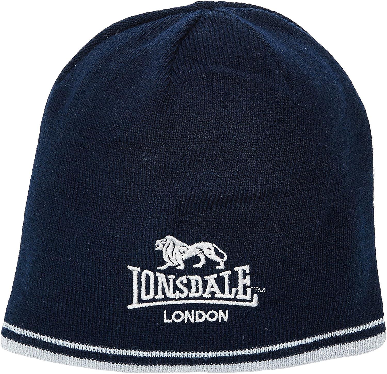 Lonsdale 2 Stripe Hat Mens Gents Beanie Knitwear