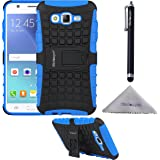 Galaxy J7 (2015) Case, Wisdompro Heavy Duty Rugged [2 in 1] Dual Layer Shockproof Hybrid Armor Protective Case with Bult-in Foldable Kickstand for Samsung Galaxy J7 2015 Edition - Blue/Black