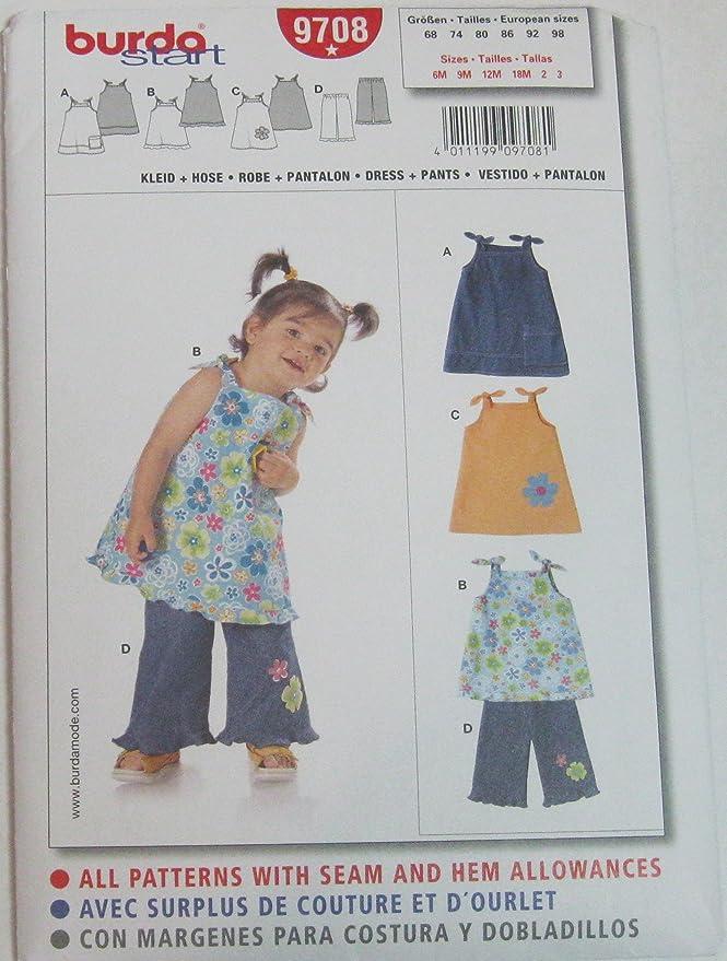 Burda 9708 patrón de costura para vestido y pantalón talla 68-98 ...