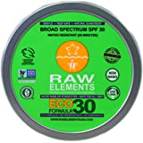 Raw Elements: Eco Formula 30+ Lotion, 3 oz, All Natural, Balanced UV Ray Protection, Water-Resistant, Packed with Antioxidants, Vitamins and Minerals.