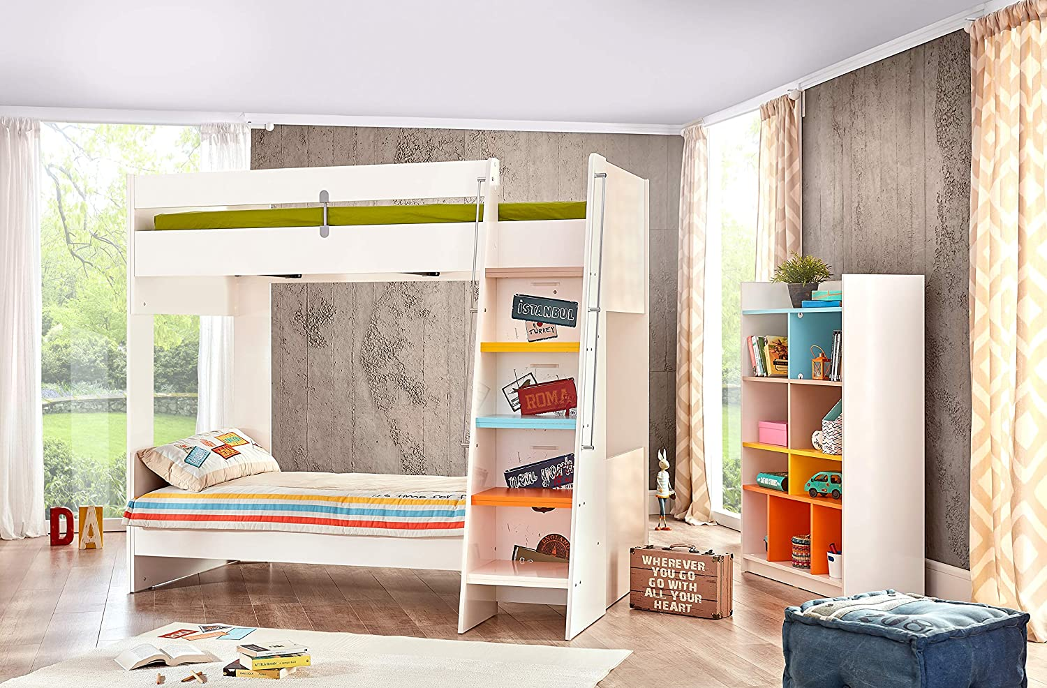 KIDOMATE Joy in Kids Bedroom Furniture Set with Bunk Bed and ...