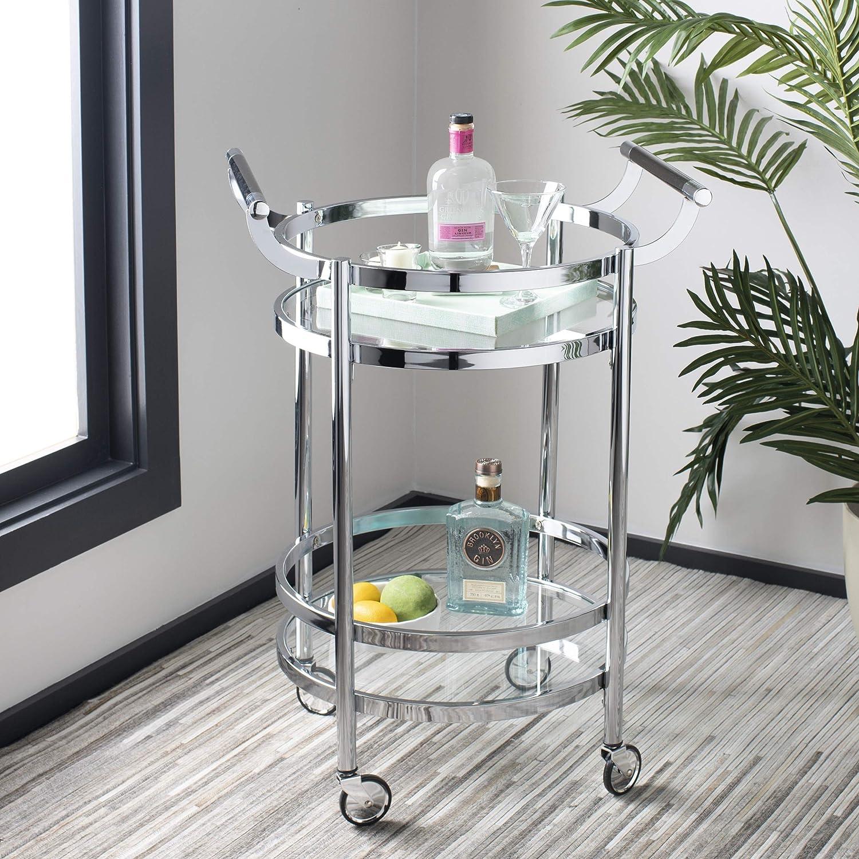 Safavieh Sienna Bar Cart, Chrome Glass