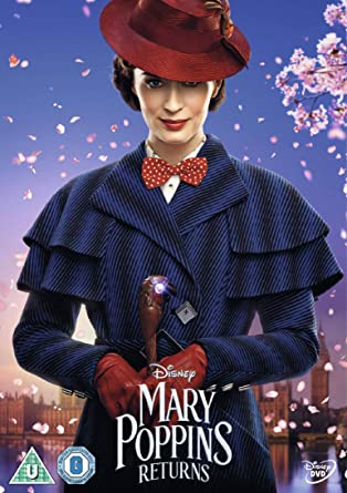 The DVD poster for Mary Poppins Returns with Emily Blunt in front of a London skyline.