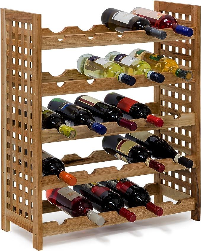 Relaxdays - Botellero Nogal para 25 Botellas hxbxt: 73 x 63 x 25 cm Botella Madera apilables (Madera de Nogal barnizada con 5 baldas Cada uno para 5 ...