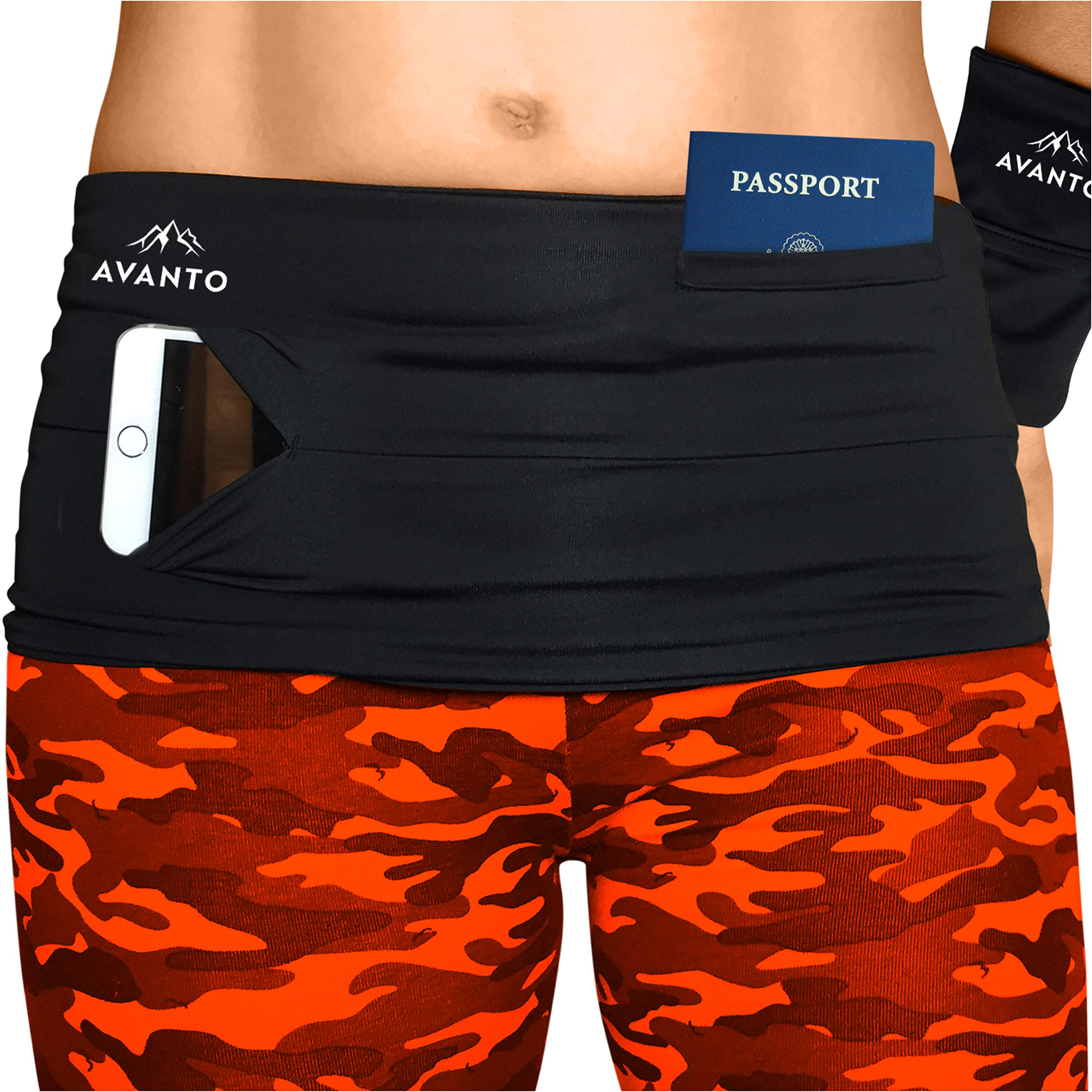 Avanto Lifestyle Slim Fit Travel Money Belt with Free Wrist Wallet, Running Belt, Waist and Fanny Pack for Travel, for Women and Men, Comfortable Like Second Skin, Black, M by Avanto Lifestyle