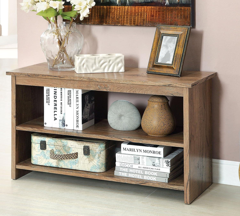Amazon.com: Furniture Of America Erhart V 2 Shelf Console Table, Rustic  Oak: Kitchen U0026 Dining
