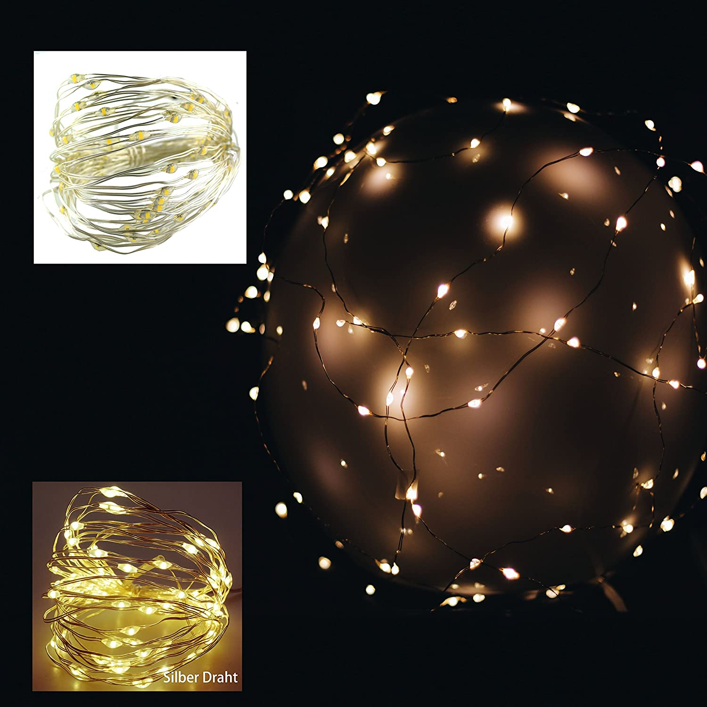 139) LED 20er Lichterkette Drahtlichterkette Leuchtdraht Deko ...