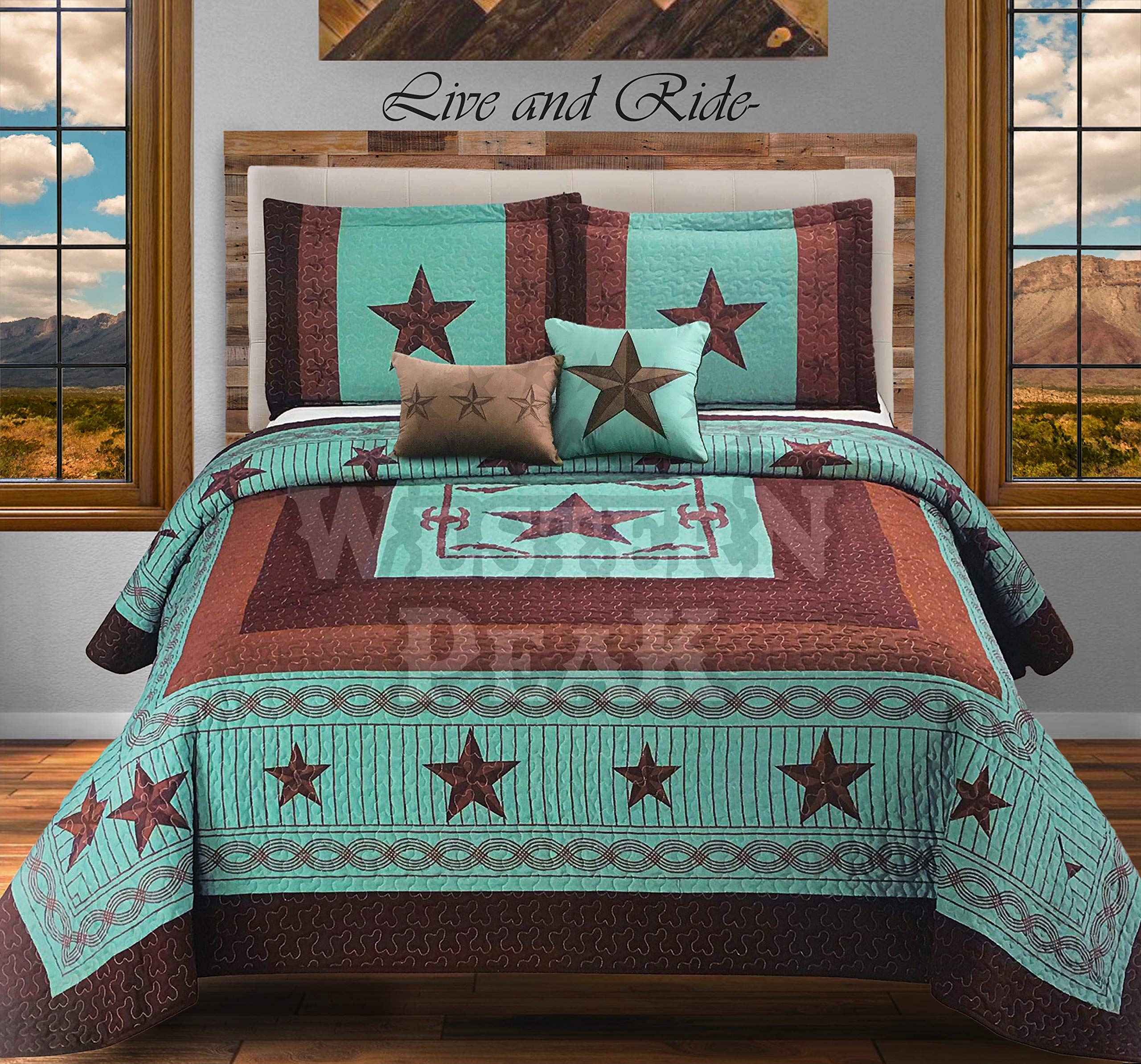 Western Peak 5 Pc Western Texas Cross Lodge Barbed Wire Quilt Bedspread Shams Pillow Oversize Comforter (Turquoise Star Gun, Queen)