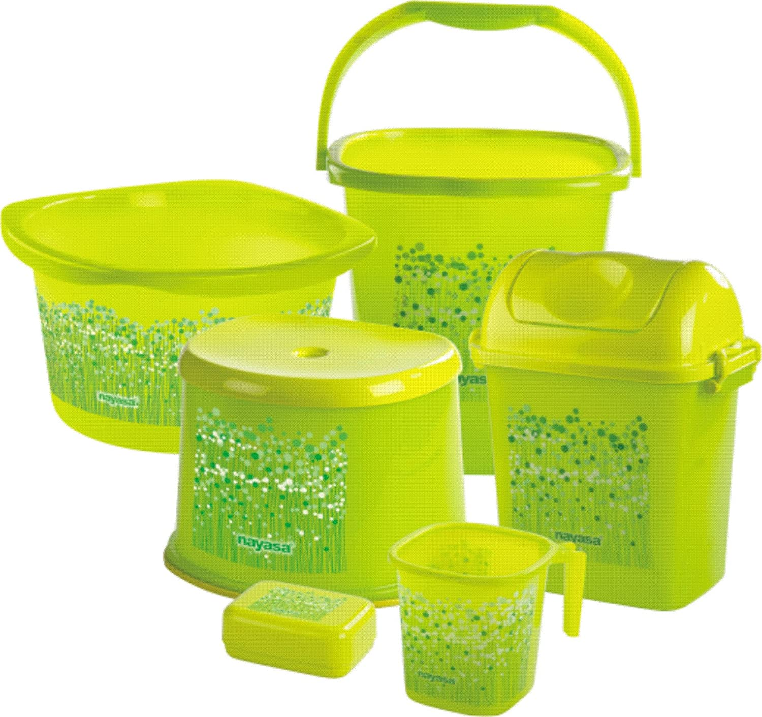 Nayasa Funk Bathroom Set Deluxe, 6 pieces, Green