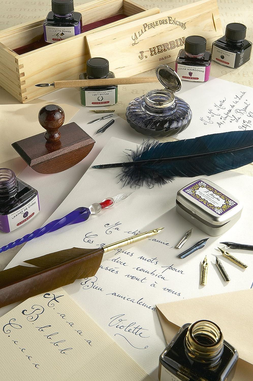 Herbin Coffret de Calligraphie avec Porte Plume en Bois 6 Plumes Diff/érentes et Un Flacon dEncre Noire Brause 195B