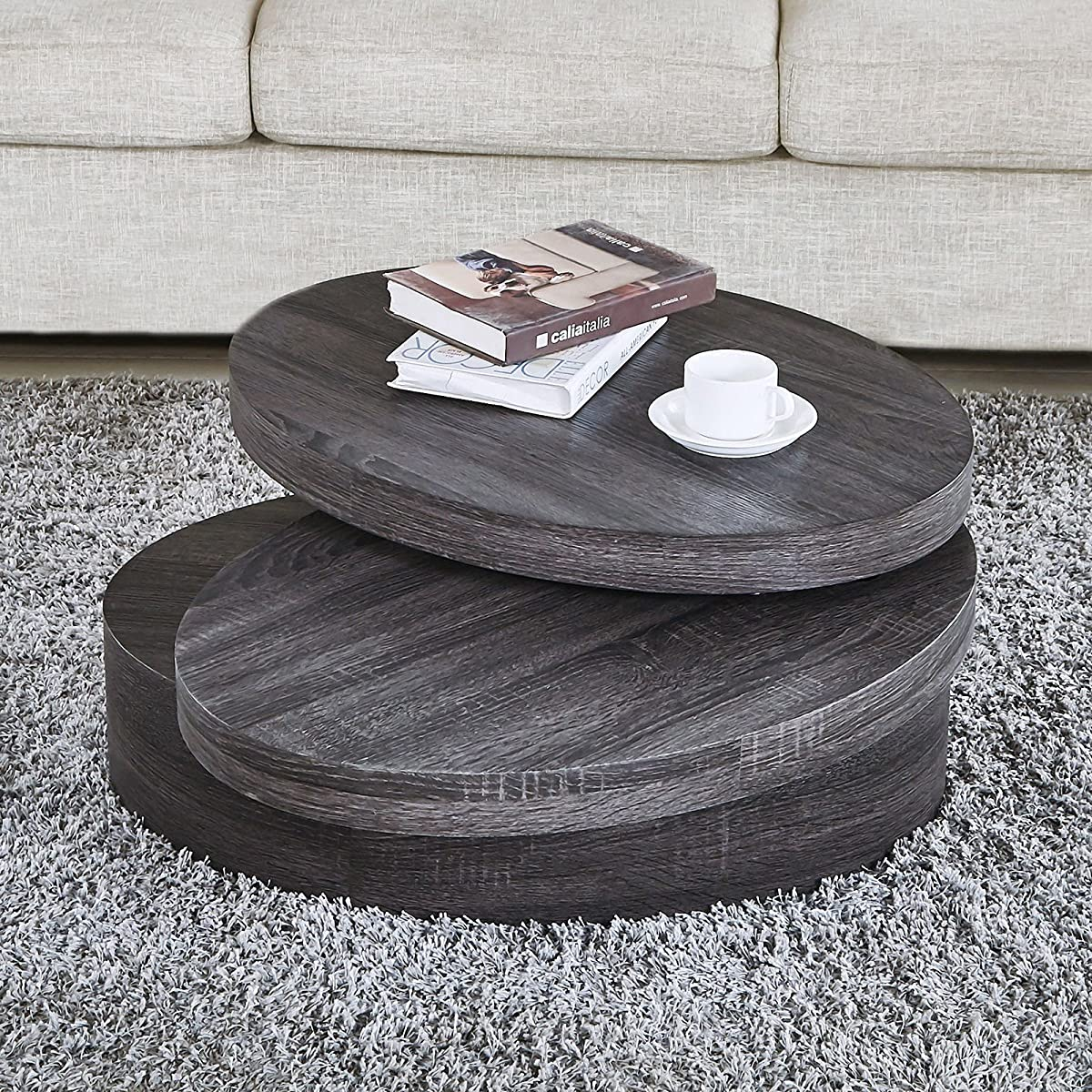 NewRetailGlobal Modern Black Oak Coffee Tables Round Rotating 3 Layers Living Room Furniture
