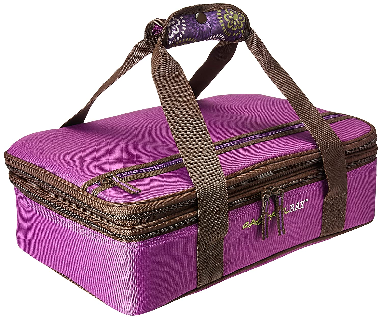 """Rachael Ray Expandable Lasagna Lugger, Double Casserole Carrier for Potluck Parties, Picnics, Tailgates - Fits two 9""""x13"""" Casserole Dishes, Purple Floral Medallion"""