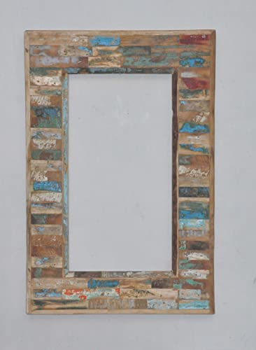 Reclaimed Barn Wood Framed Mirror Natural Wood Tone Primitive Rustic Decor Furniture