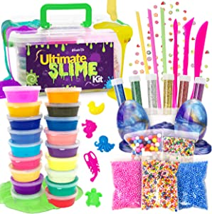 WonderCo Slime Kit with Everything! The Ultimate Slime Kit with Pre-Made Slime for Kids. Dragon Eggs, 18 Colors, Cloud Slime, Unicorn Supplies and Glitter DIY Accessories for Boys and Girls