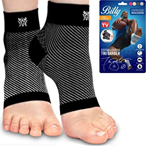 Plantar Fasciitis Socks, Compression Foot Sleeves with Arch Support for Men and Women, Black, Large