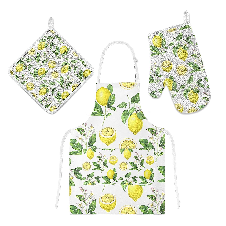 U-Life Kitchen Apron with Pocket Oven Mitt Glove Pot Holder Mat Set Yellow Green Lemon Floral Flower