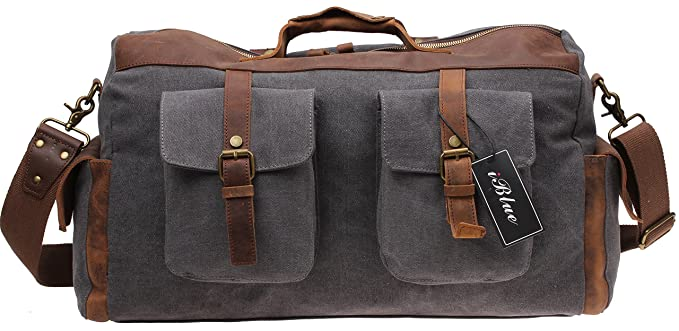 Leather Canvas Carry on Duffle Bag Large Tote Luggage Handbag 21.6 Inch #2858 (XL, grey)