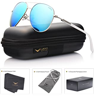 aviator sunglasses womens  LUENX Aviator Sunglasses Womens Polarized Mirror with Case