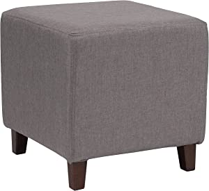 Flash Furniture Ascalon Upholstered Ottoman Pouf in Light Gray Fabric