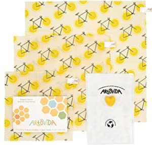 ARTOVIDA Premium Organic Designer Beeswax Food Wraps   Reusable & Biodegradable   No-Plastic Food Storage   Set of 3 Sizes   Florent Bodart from France - Zest