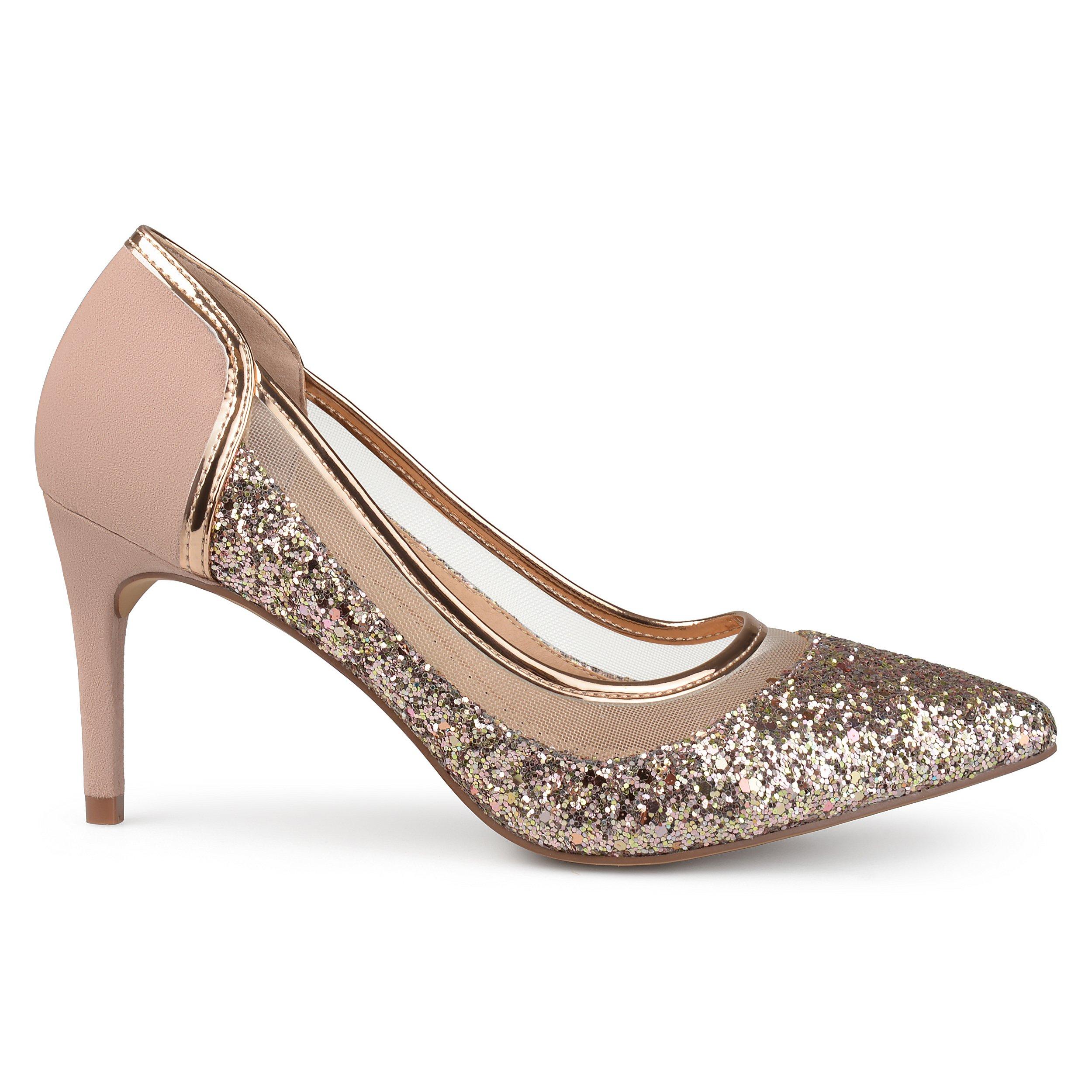 Brinley Co. Womens Kori Faux Suede Mesh Glitter Almond Toe Heels Rose Gold, 7 Regular US