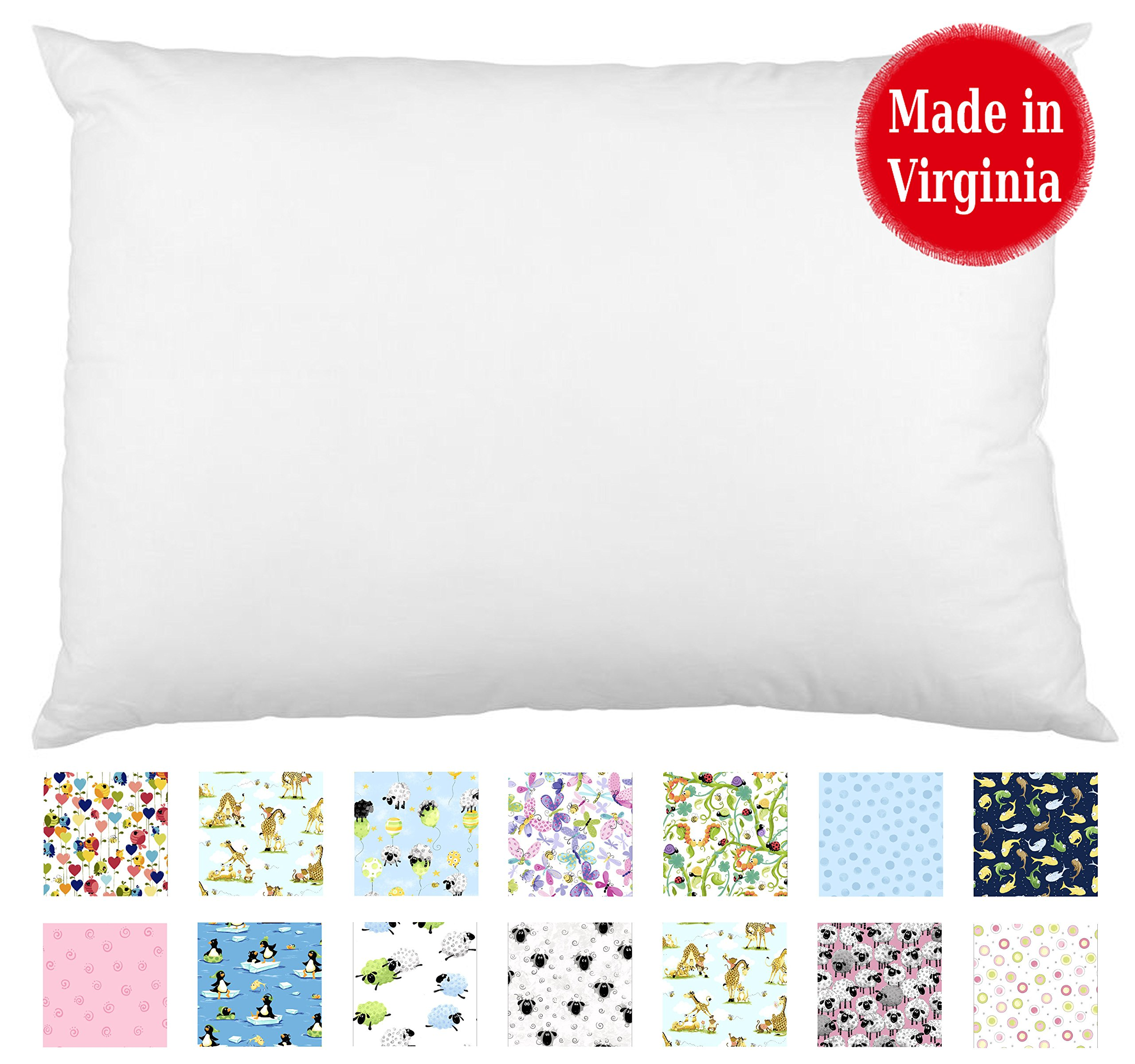 Toddler Pillow (13'' x 18'') - Hypoallergenic - Machine Washable - Double Stitched for Extra Strength - Made in Virginia by A Little Pillow Company (White)