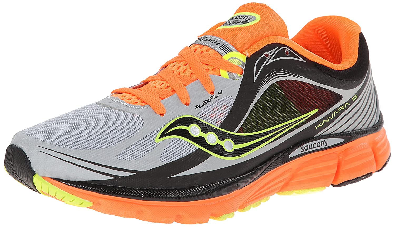 Saucony Men's Kinvara 5 Viziglo Running Shoe B00GXYBAKQ 12.5 D(M) US|Silver/Vizi Orange/Citron