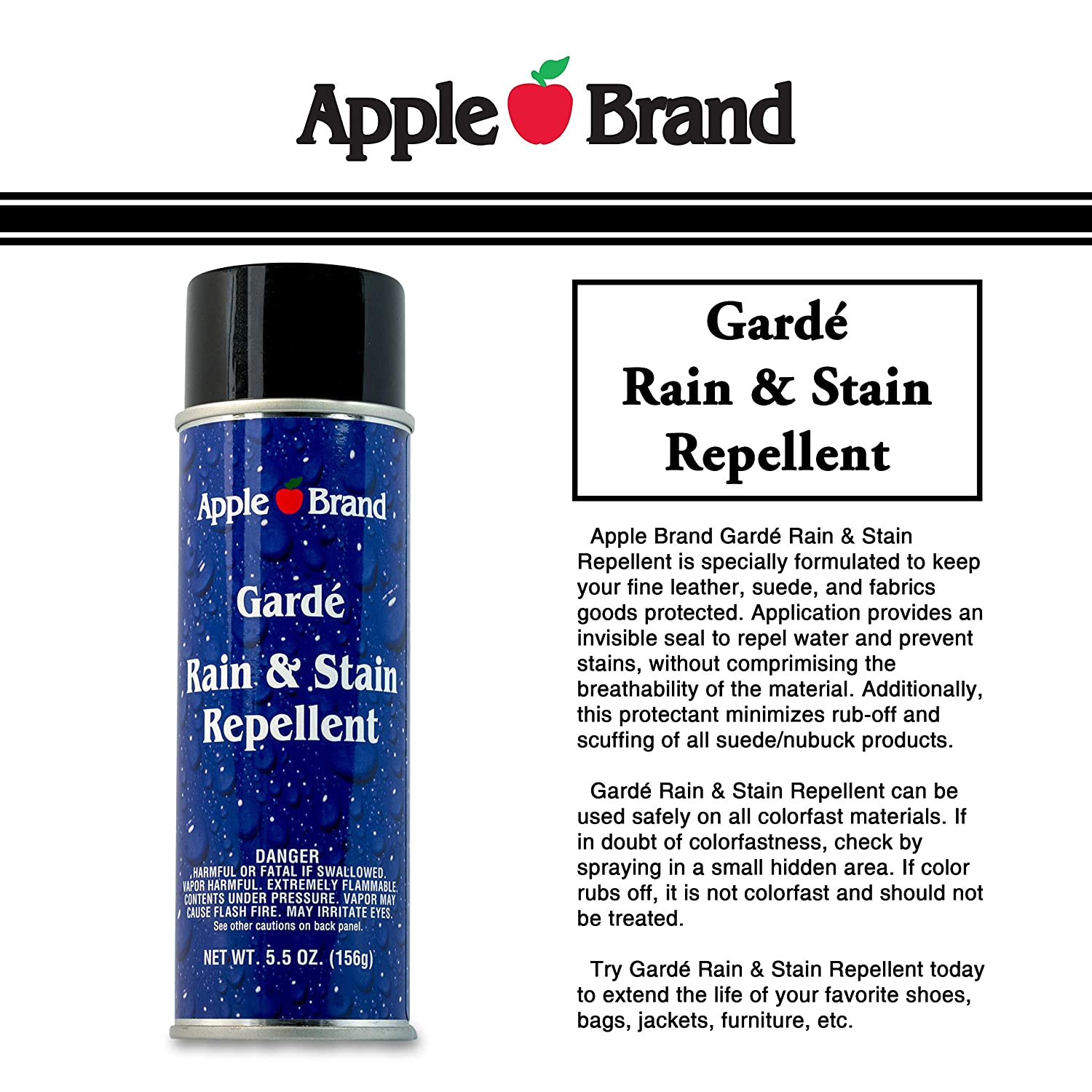 c5e457acd0 Amazon.com: Apple Brand Garde Rain & Stain Water Repellent - Protector  Spray For Handbags, Purses, Shoes, Boots, Accessories, Furniture - Won't  Alter Color ...