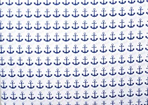 Boat House Kids Bedding 3 Piece Twin Sheet Set Navy Blue Ship Anchors on a White Background